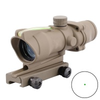SPINA OPTICS Tactical ACOG 1X32 Sand /Black Green Dot Sight Scope Optics Real Green Fiber Green Dot