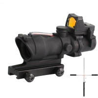 Tactical Airsoft ACOG 4X32 Sight Scope Real Red Fiber Source  w/ RMR Micro Red Dot