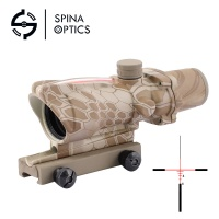 SPINA OPTICS Calibrated Sight Red Dot ACOG 4x32 Red Fiber Illuminated Riflescope Combo (AT/CP)
